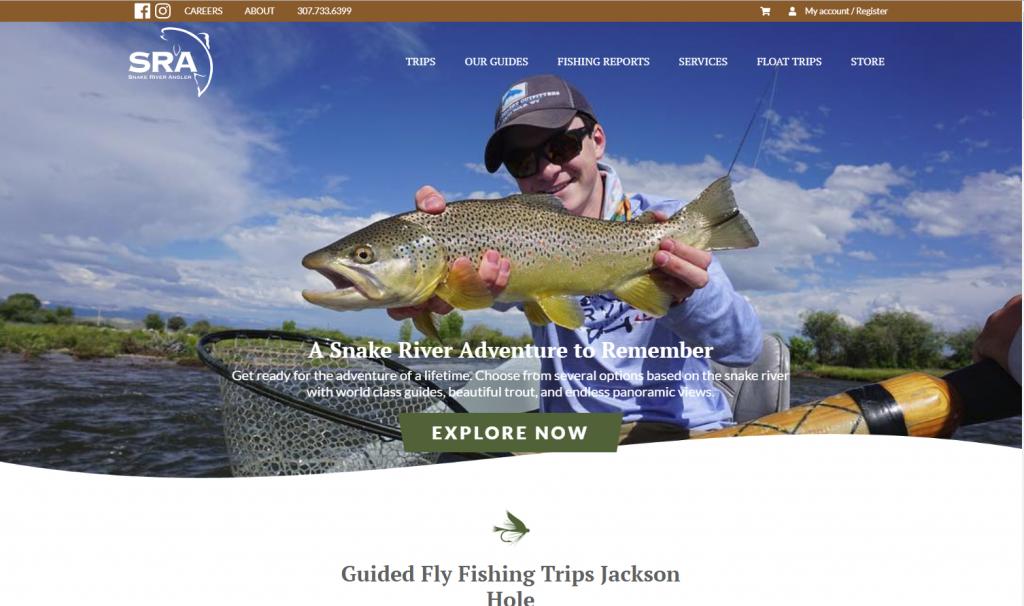 Snake River Angler Website Snapshot Portfolio image